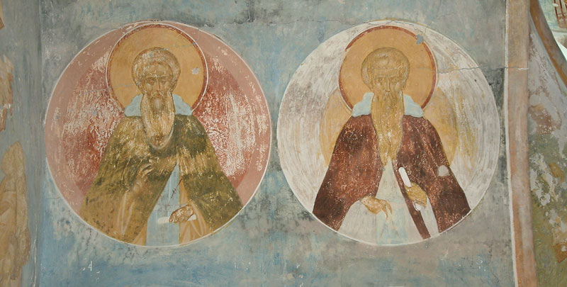 Dionisy's frescoes. St. Thomas the Maleian (?) and St. Ephimius the Great (?)