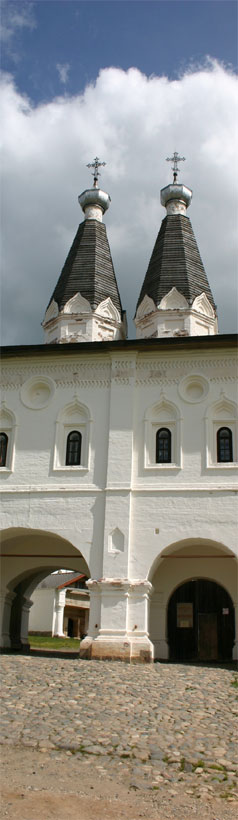 The St. Ferapont Belozero Monastery. The Holy Gates act as an entrance to the monastery:  two different in size arches of the gates serve as everyday and festive entrances to the monastery