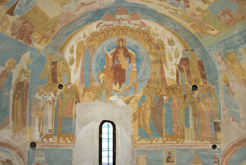 "Dionisy's frescoes. ""Because of you, O Full of grace, all creation rejoices"""