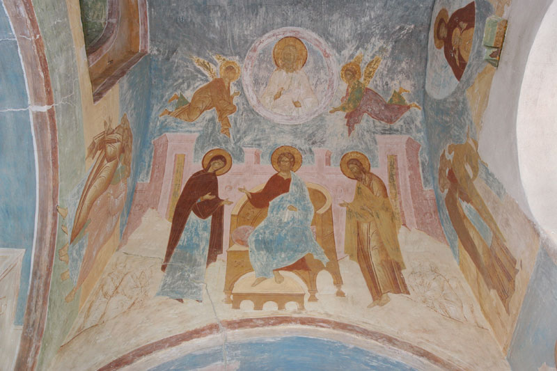 "Dionisy's frescoes. ""...was wholly present with those on earth, yet never absent from those in Heaven..."" (Akathist, Eikos 8)"