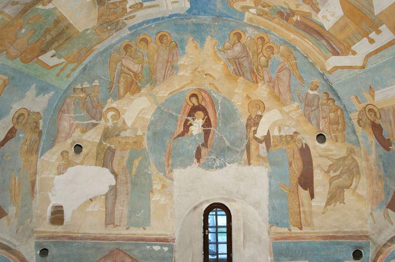 "Dionisy's frescoes. ""What shall we offer you, O Christ?"" (Cathedral of Theotokos)"
